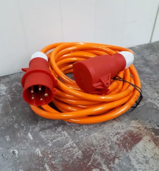 Baustellen-Starkstromverlängerung 25m 400V, 5- polig, 16A, ca. 11kW