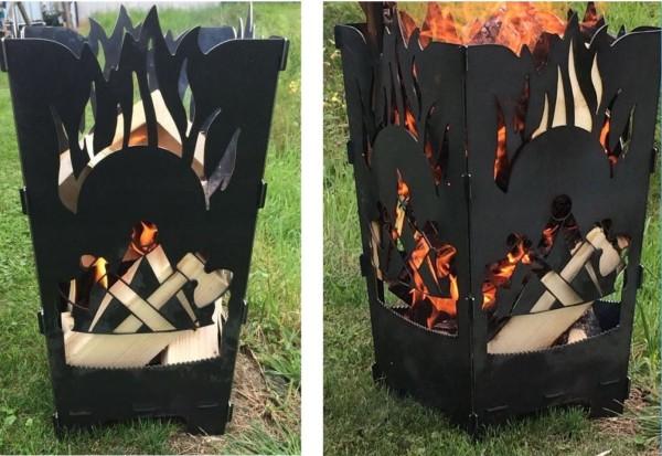 Feuerkorb mit Flammen und Zimmermannslogo