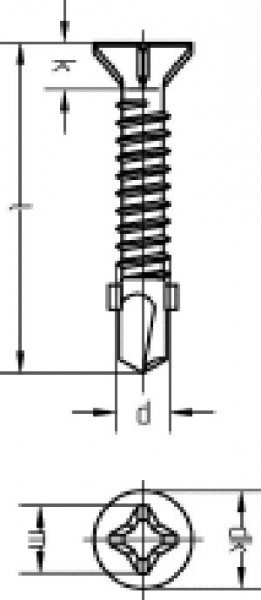 Bohrschraube 6,3x38 verz., mit Flügeln und Rippen