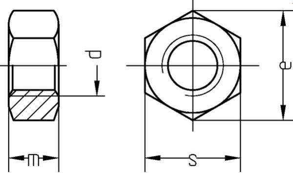 Muttern M08 DIN 934 verzinkt